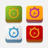 Vierkante knop: horloge — Stockvector