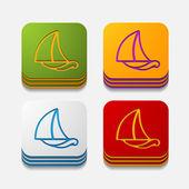 Pulsanti barca a vela — Vettoriale Stock