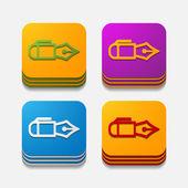 Pen buttons — Stock Vector