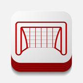 Square button: gate — Stock Vector