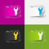 Moersleutel stickers set — Stockvector