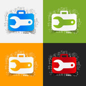 Wrench stickers set — Stock Vector