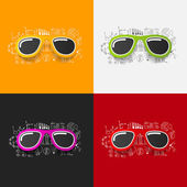 Sunglasses stickers set — Stock Vector