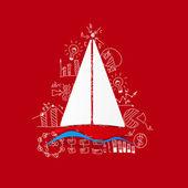 Sailboat sticker — Stock Vector