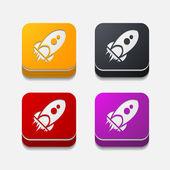 Rocket button — Stock Vector