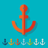 Flat design: anchor — Stock Vector