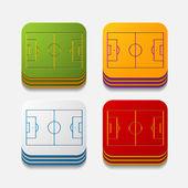 Kare düğme: oyun alanı — Stok Vektör