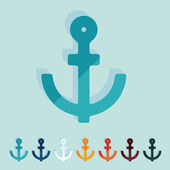 Flat design: anchor — Stock Vector