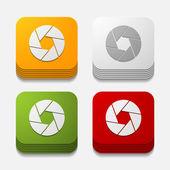 Square button: photo — Vector de stock