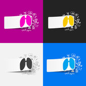 Set of stickers with lungs — Stock Vector