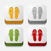 Slippers button set — Stock Vector