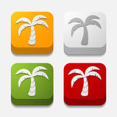 Tropical palm button set — Stock Vector