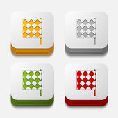 Linesman flag button set — Stock Vector