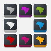 Brazil button set — Stock Vector