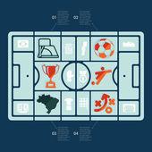 Fútbol, fútbol de infografía — Vector de stock