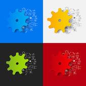 Cogwheel stickers set — Stock Vector