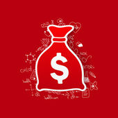 Money sack sticker — Stock Vector