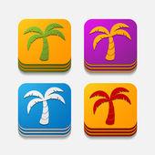 Square button: palm — Stock Vector