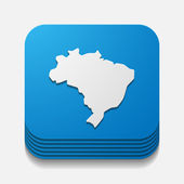 Brazil button — Stock vektor