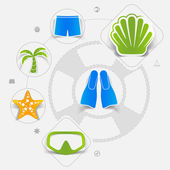 Set of summer tourism icons — Stock Vector