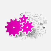 Cogwheel sticker — Stock Vector