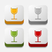Square button: cocktail — Stock Photo
