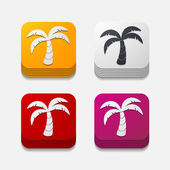 Square button: palm — Stock Photo