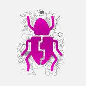 Drawing medical formulas: beetle — Stock Photo