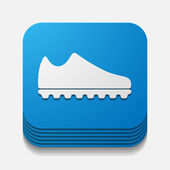 Square button: sneakers — Stock Photo