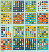 Set of flat icons: health, finance, zoo, travel — Stockfoto