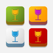 Square button: cocktail — Stock Photo