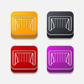 Square button: gate — Stock Photo