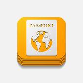 Square button: passport — Stock Photo