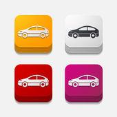 Square button: car — Stock Photo