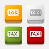 Square button: taxi — Stock Photo