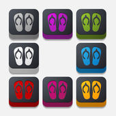 Square button: slippers — Stock Photo