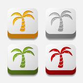 Square button: palm — Stock Photo
