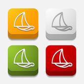 Square button: sailboat — Stock Photo