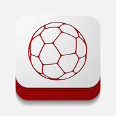 Čtvercové tlačítko: míč — Stock fotografie