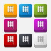 Square button: linesman flag — Stock Photo