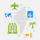 Set of summer tourism icons — Stock Photo