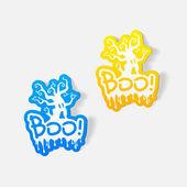 Boo,Halloween sticker — Stock Vector