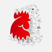 Cock head — Stock Vector