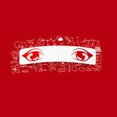 Auge mit medizinische formeln — Stockvektor
