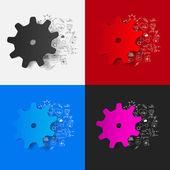 Cogwheel with medical formulas — Stock Vector