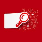 Magnifier inside medical formulas — Stock Vector