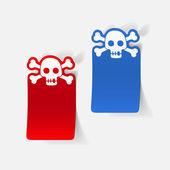 Skull sticker for Halloween holiday — Stock Vector