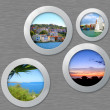 Metal porthole with travel photos — Stock Photo