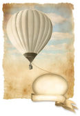 Retro hot air balloon on sky with banner, background old paper texture. — Stock Photo