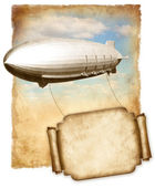 Airship flying banner for text over old paper, vintage graphic. — Stock Photo